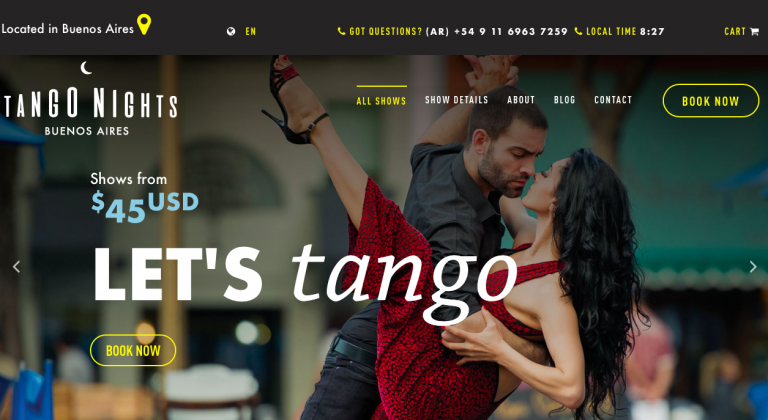 diseño web para la sala tango nights