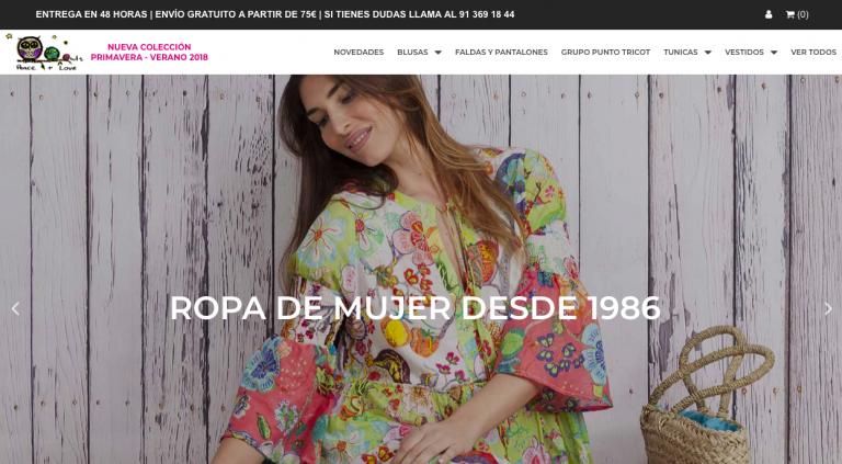 diseño web y desarrollo de tienda online para peace-love